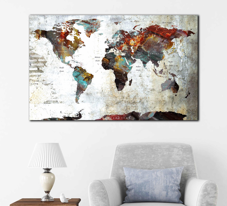 World Map,World Map Wall Decal,World Map Poster,Large World ...