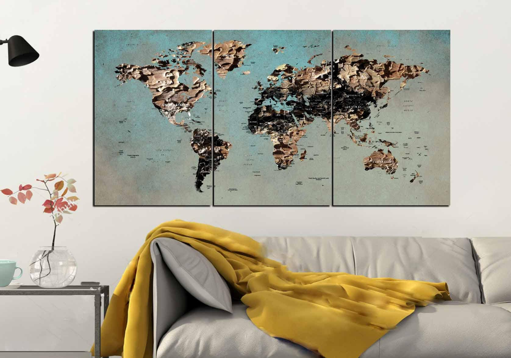 World Map Wall Art,World Map Canvas,Large World Map,World Map Art ...