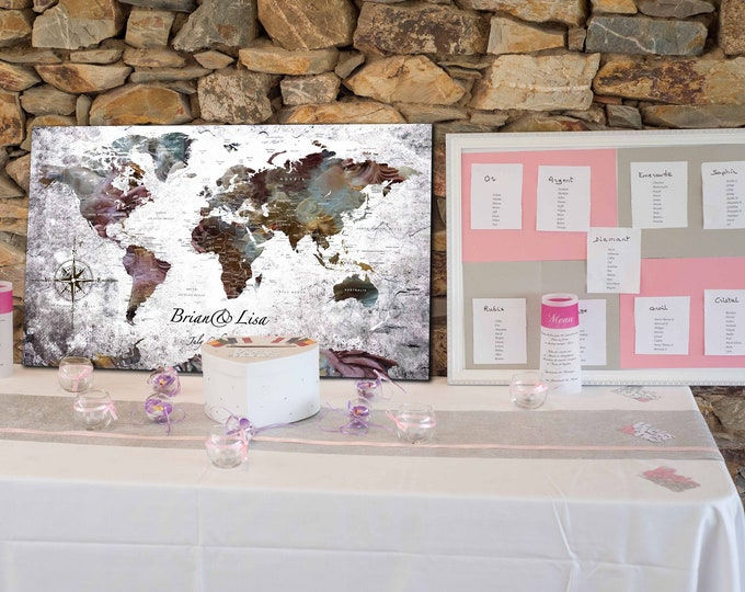 Wedding Guest Book,Alternative wedding guest book, personalized wedding guest book, customized world map, personalized map canvas print