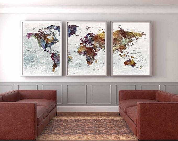 World map wall art, world map print, world map poster, world map decal, world map art print, world map large art