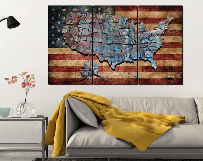 USA Flag Wall Art,US Flag and Map Art,US Flag Canvas,United States Map Art,American Art,Flag,American Flag Wall Art,United States Map,Us Map