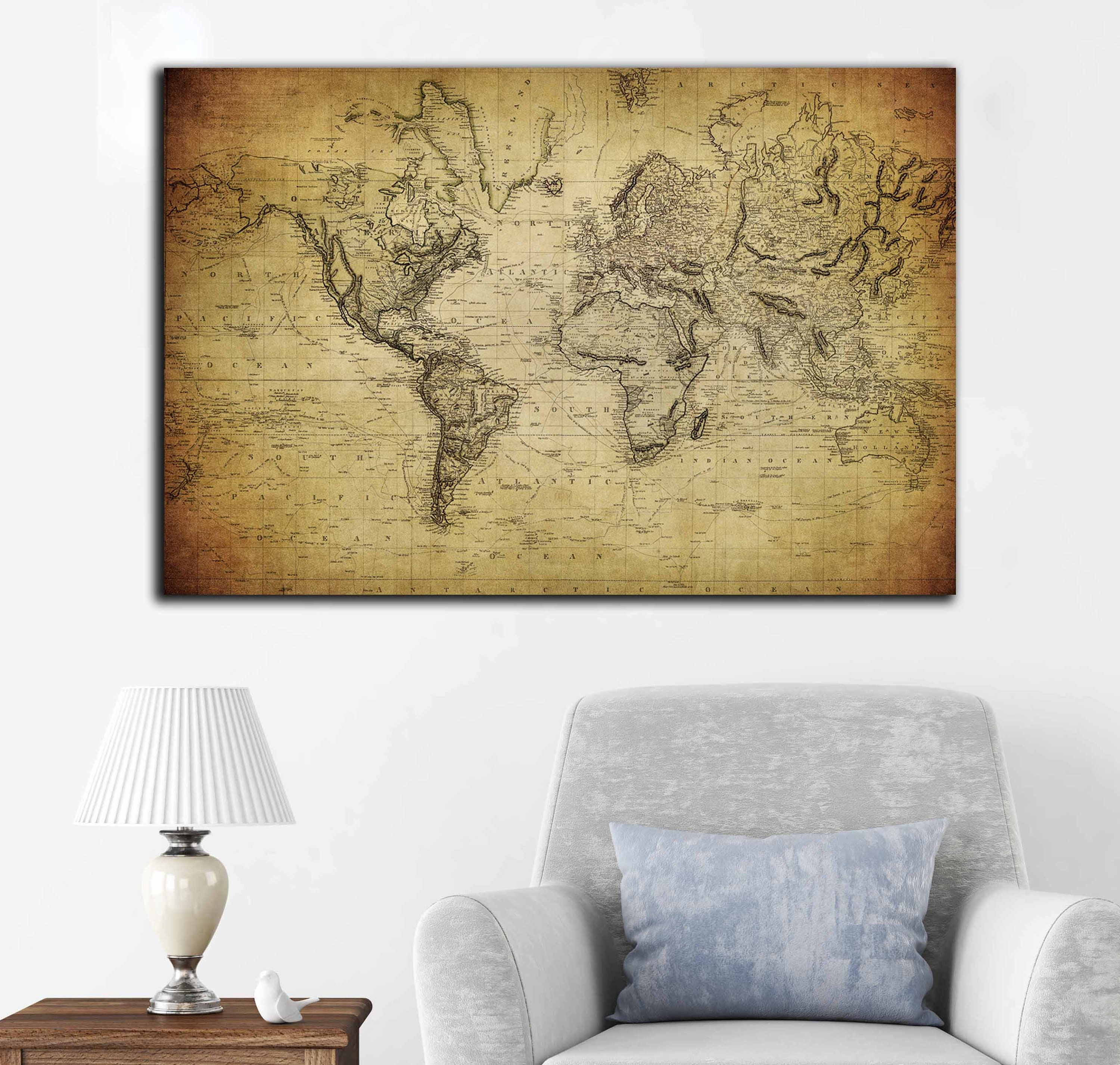 Vintage 1814 world map canvas panel ready to hang, world map vintage ...