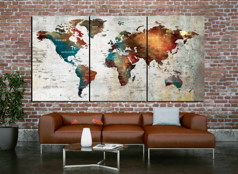 Push Pin Map Canvas Wall Art Piece Canvas World MapWorld Map Wall - 3 piece world map wall art