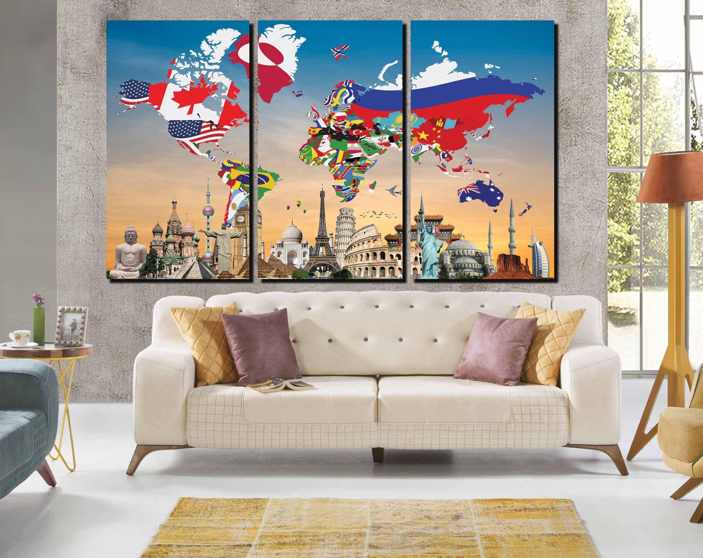 World Flag Map With Landmarks World Map Flags World Map Art World