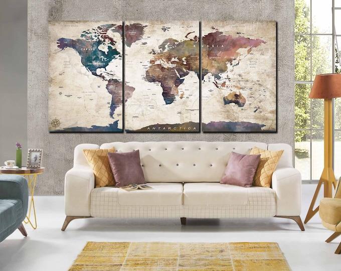 World Map,World Map Wall Art,Pushpin World Map,Large World Map,Travel Map,Travel Map 3 Panels,Pushpin Map,World Map Canvas,World Map Print