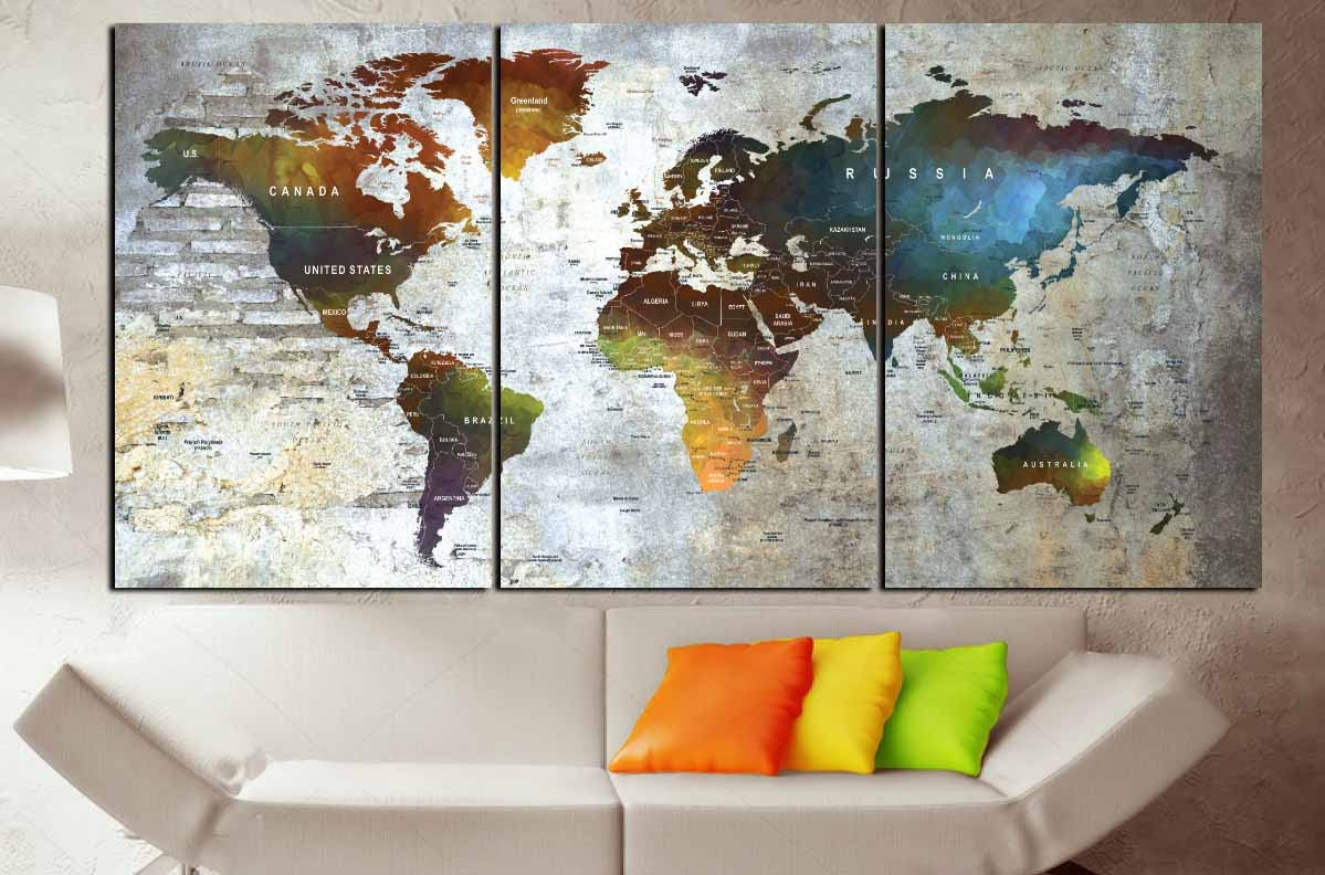 Large watercolor world map canvas panelsworld map artpush pin map large watercolor world map canvas panelsworld map artpush pin maptravel mapworld map printworld map colorfulworld map ready to hang gumiabroncs Gallery