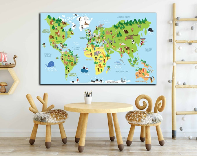 Kids map with cultural differences, kids map, kids room decor, kids room art, nursery room wall decor, baby room art, kids wall art,