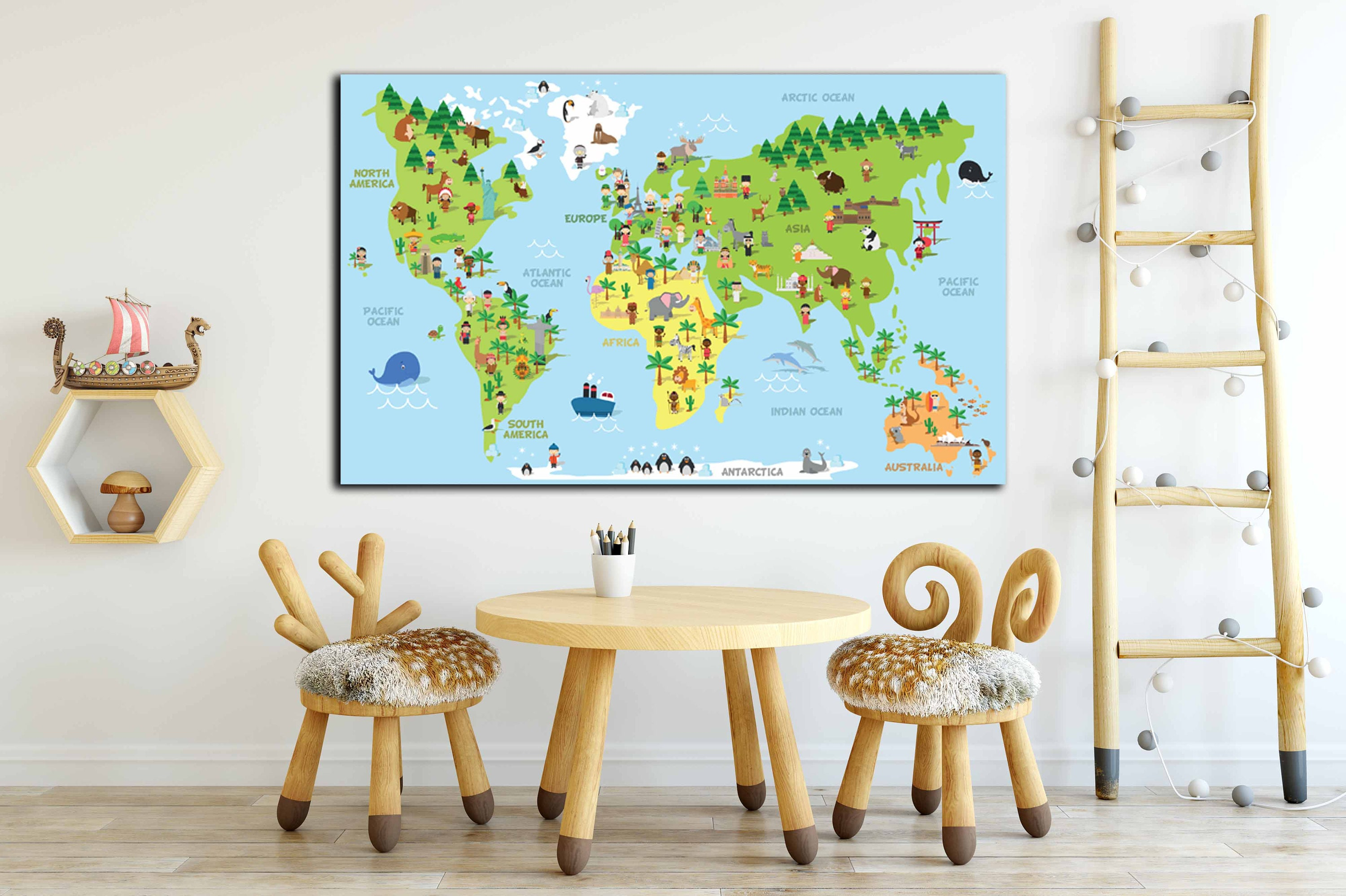 Kids map with cultural differences, kids map, kids room decor, kids ...
