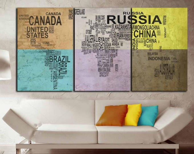 Colorful World Map with Countries, Large World Map,World Map Wall Art,World Map Canvas,World Map Art,World Map Art Print,World Map Countries
