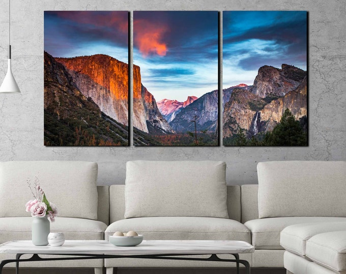 Yosemite national park wall art, Yosemite art, Yosemite art canvas print, half dome art, El Capitan art print, Yosemite landscape