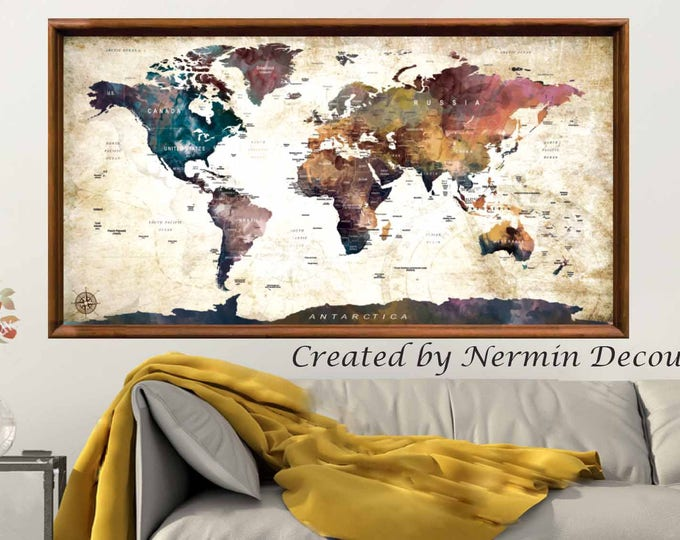 Large World Map Wall Art Poster, World Map Wall Art,World Map Push Pin,Push Pin Map Art,World Map Art Print,World Map Watercolor Art,Travel