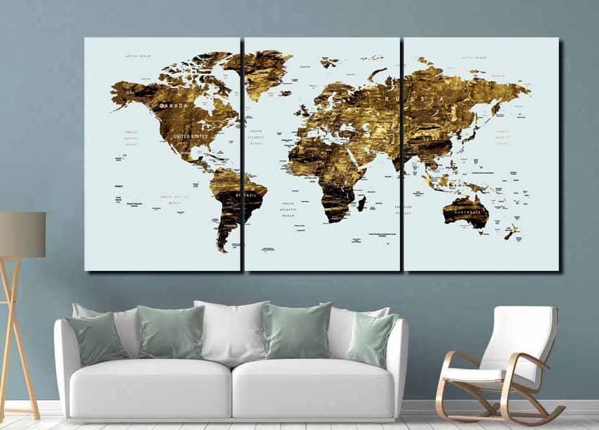 Gold World Map Wall Art.Gold Color Map Art World Map Canvas Art World Map Wall Art Large