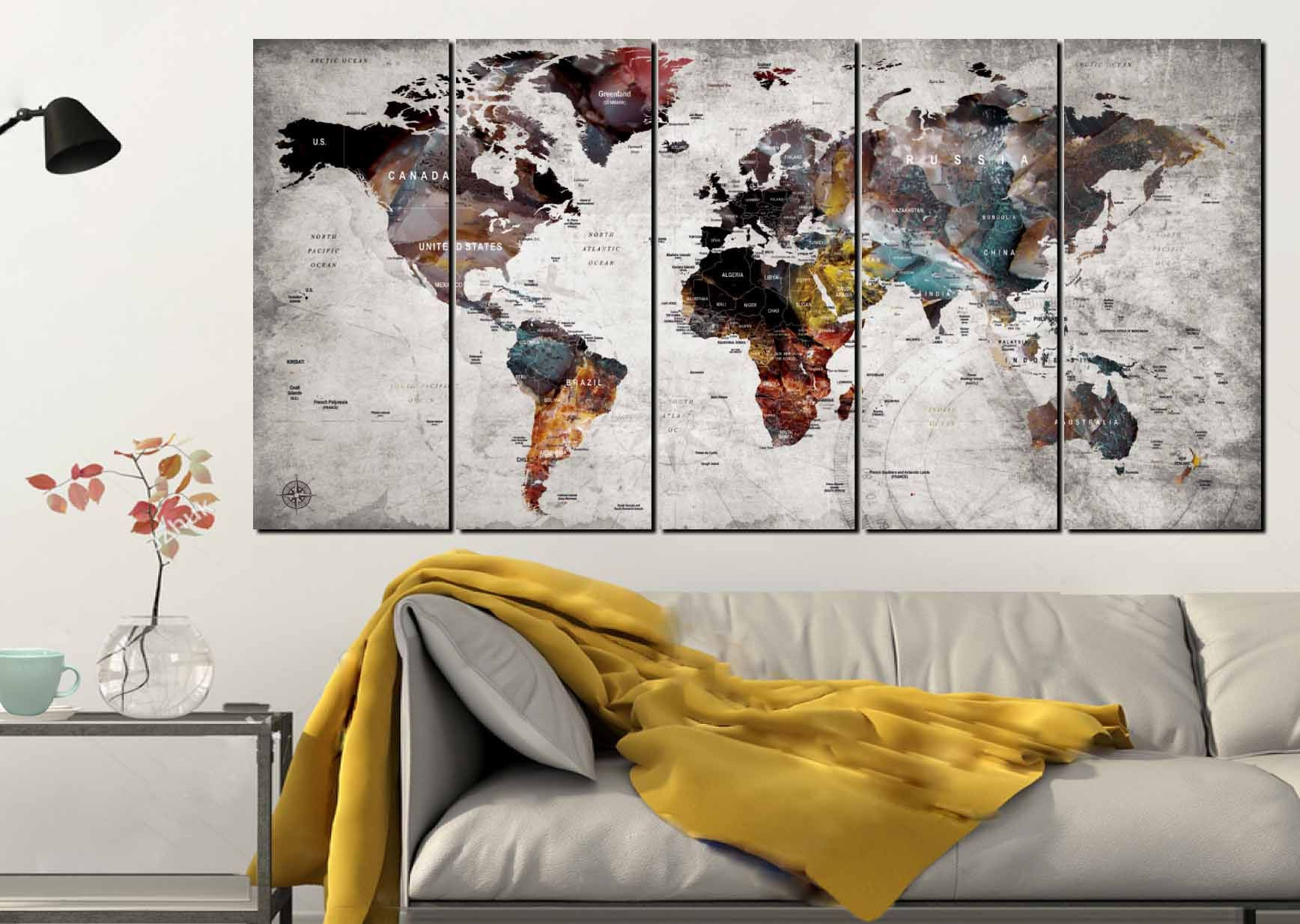 Map Of World Wall Art.World Map Wall Art World Map Canvas Art Large World Map World Map 5