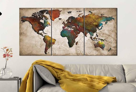 Colorful World Map Art.World Map Wall Artabstract Push Pin Mapcolorful World Etsy
