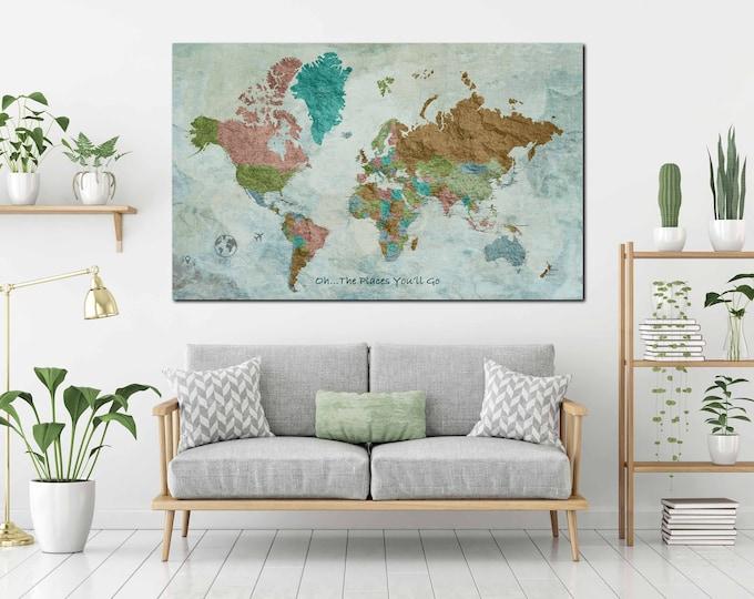 Push pin map, world map large, world map wall art, world map canvas, world map personalized, travel map push pin, world map print, world map