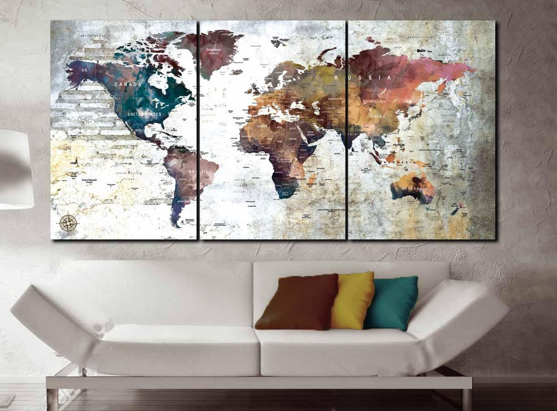 World Map 3 Piece Canvas, push pin map, world map,Large World Map