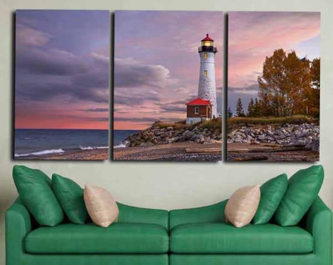 Light House Canvas Art,Light House Wall Art, Large Light House Print ,Large Landscape,Light House Canvas Print, Living Room,Art,Sunset Art