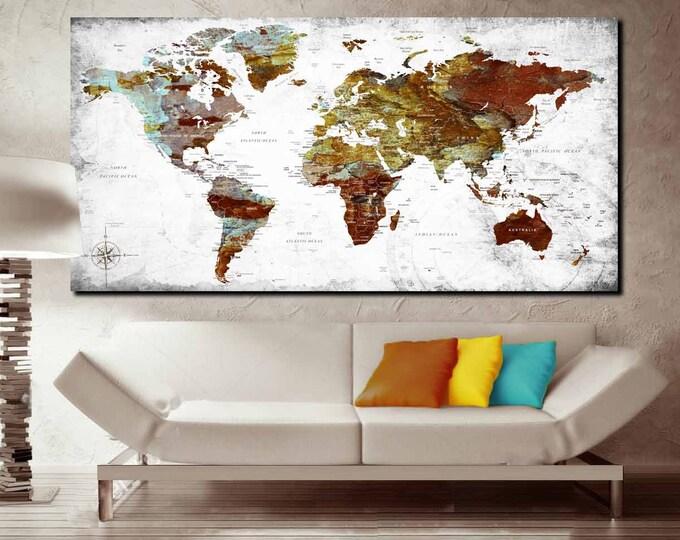 World map large, world map canvas, world map wall art, world map art, world map print, world map canvas print, travel map, push pin map