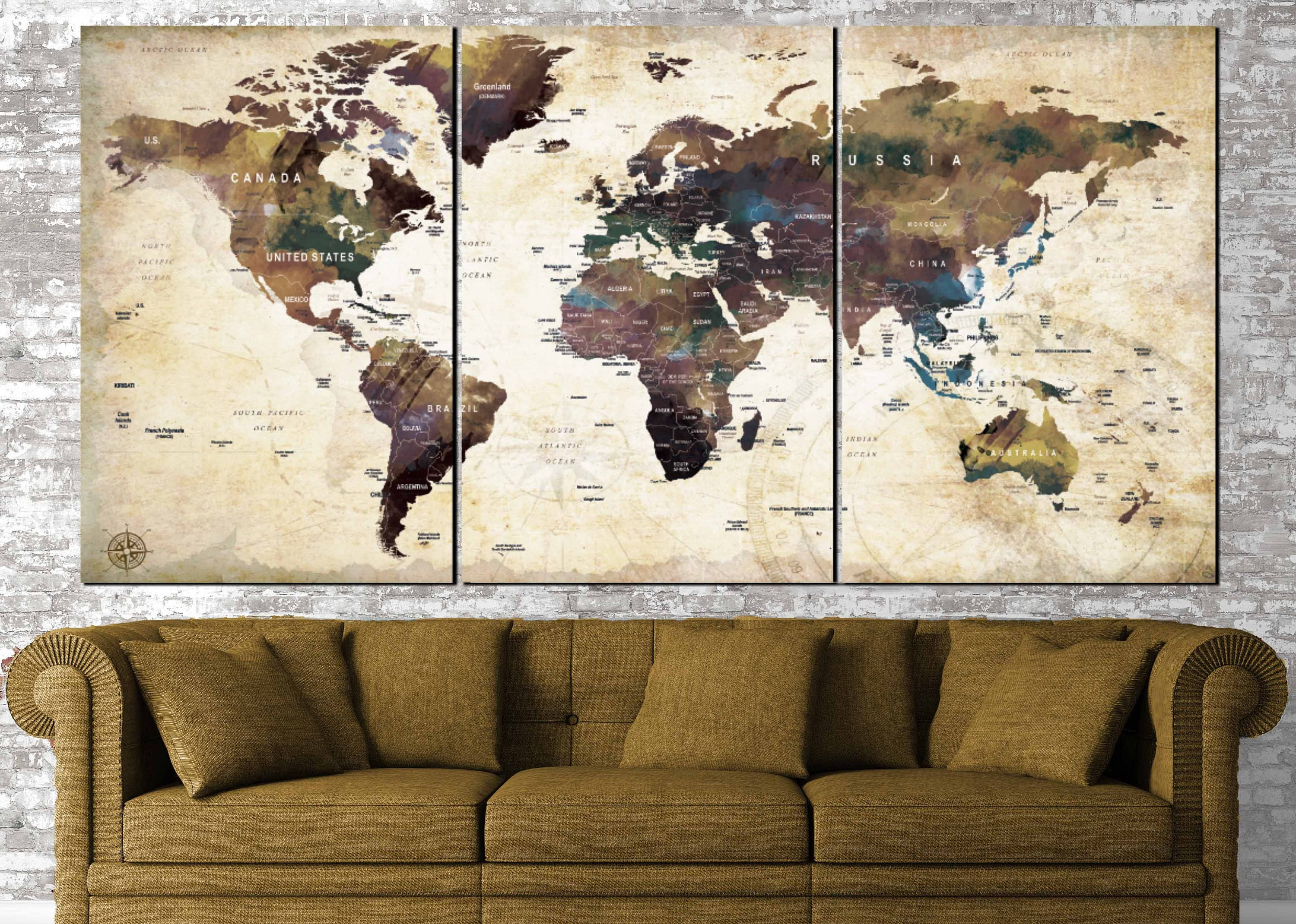 Vintage World Map Art.World Map Wall Art World Map Vintage World Map Canvas World Map Art