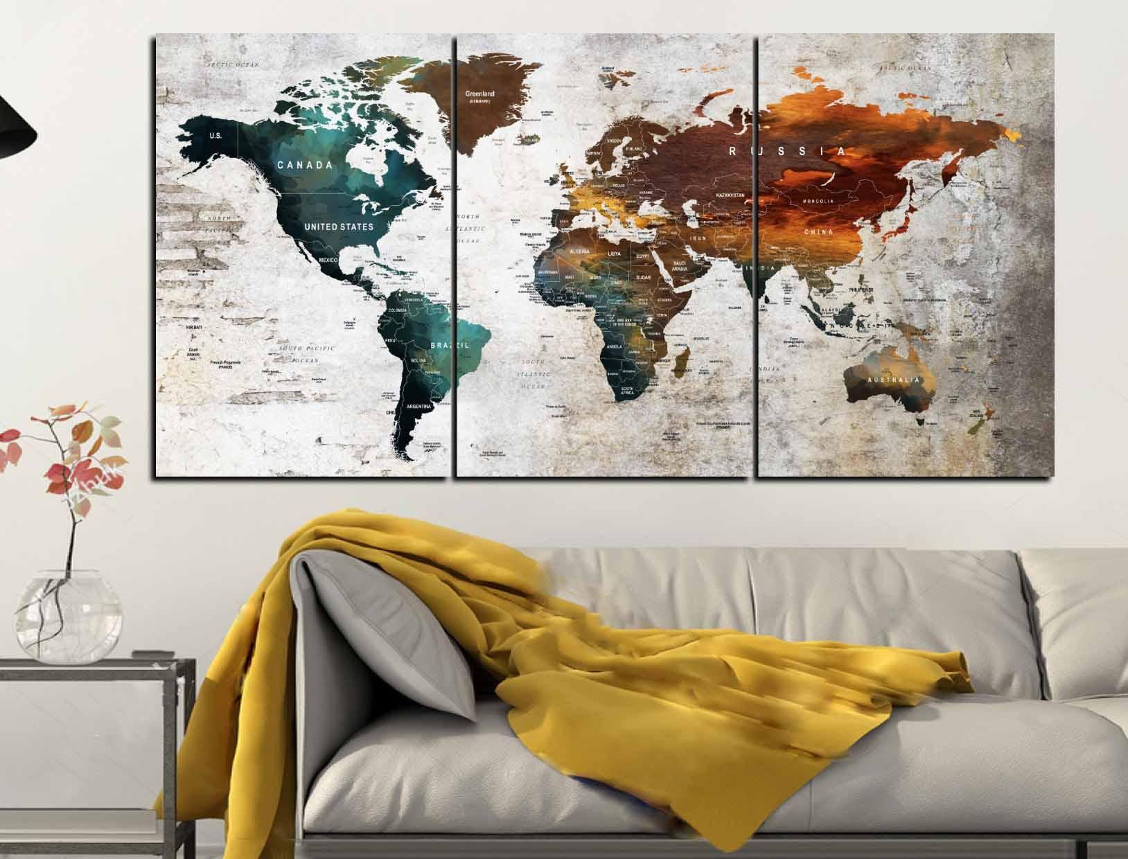 Large 3 Panel World Map Push Pin Wall Art,World Map Canvas Art