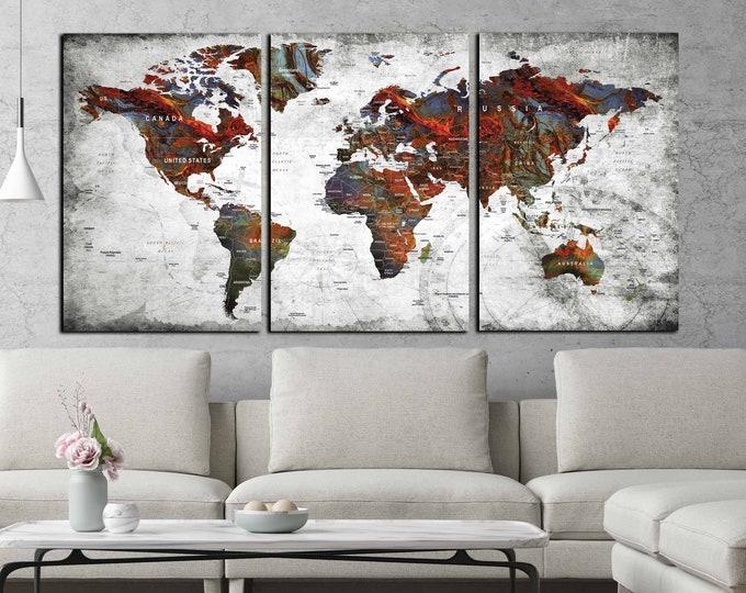 world map canvas, world map print, world map art, world map red and blue