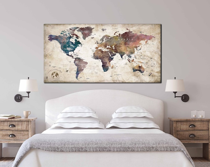 Gift for travelers, gift for travel lovers, Christmas gift ideas, map for travelers, travel map canvas, push pin map canvas, push pin map