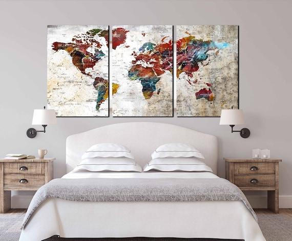 3 Piece Canvas World Map.World Map Art Large Canvas Print 3 Piece Canvas Large Map Etsy