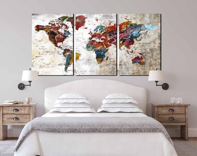 World map art large canvas print, 3 piece canvas large map art, push pin map canvas print, travel map art print, world map wall art large