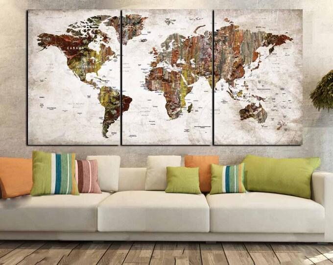 World Map Canvas,World Map Wall Art,Large World Map Art,Large Map Art Print,World Map Abstract,Push Pin World Map,Travel Map,World Map Print