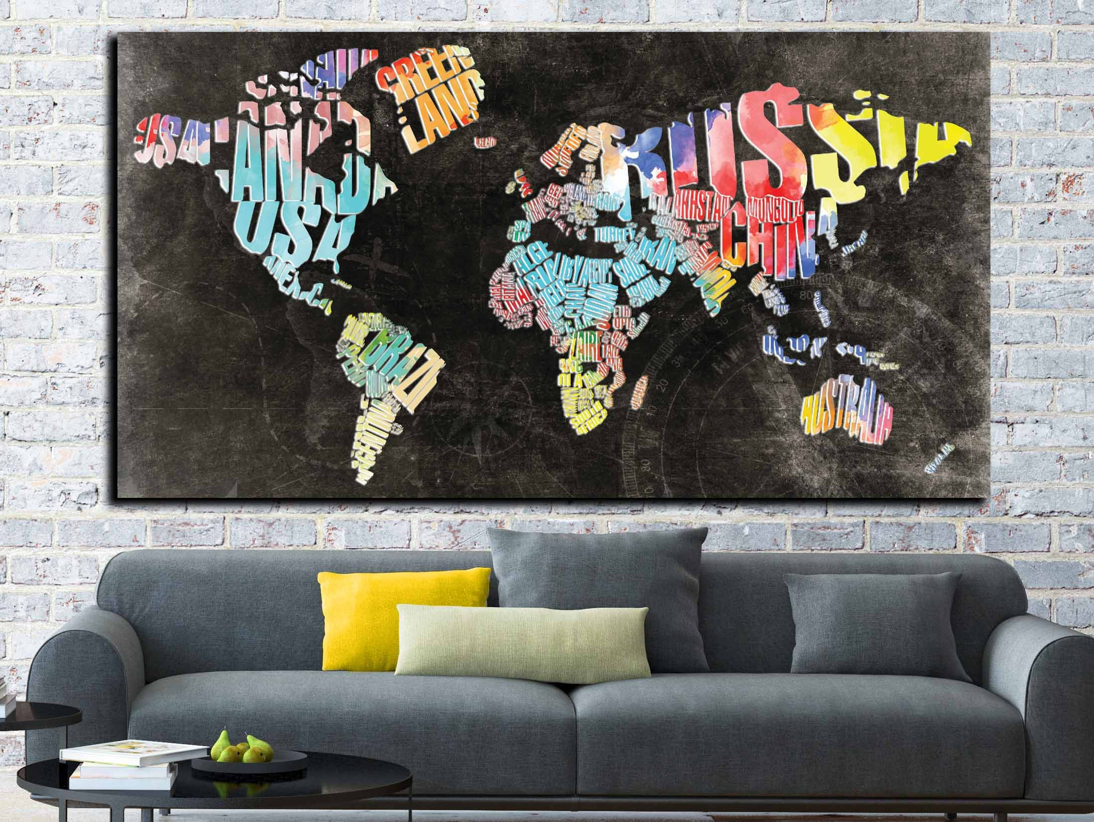 Typographic world text mapworld map abstract wall art canvas print typographic world text mapworld map abstract wall art canvas print large wall artdecorative world map art canvas printworld map office gumiabroncs Choice Image