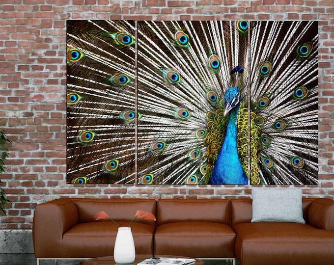 Peacock Wall Art,Large Peacock Canvas,Peacock Canvas Print,Peacock Wall Decor,Peacock Art Print,Large Peacock Art,Decorative Art,Blue Art