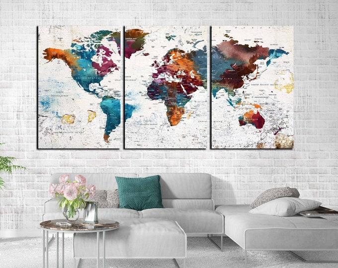World map wall art large canvas print, world map canvas, push pin map, travel map large print, world map print, world map abstract art, map