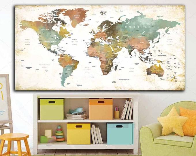 World Map Wall Art,World Map Canvas,World Map Large,World Map Push Pin,Kids Room Art,World Map Print,World Map Panel,World Map Watercolor