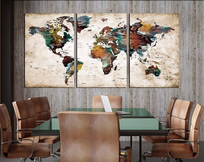 Large world map canvas print 3 panel ready to hang, world map wall art, world map canvas, world map art, map art, world map art print