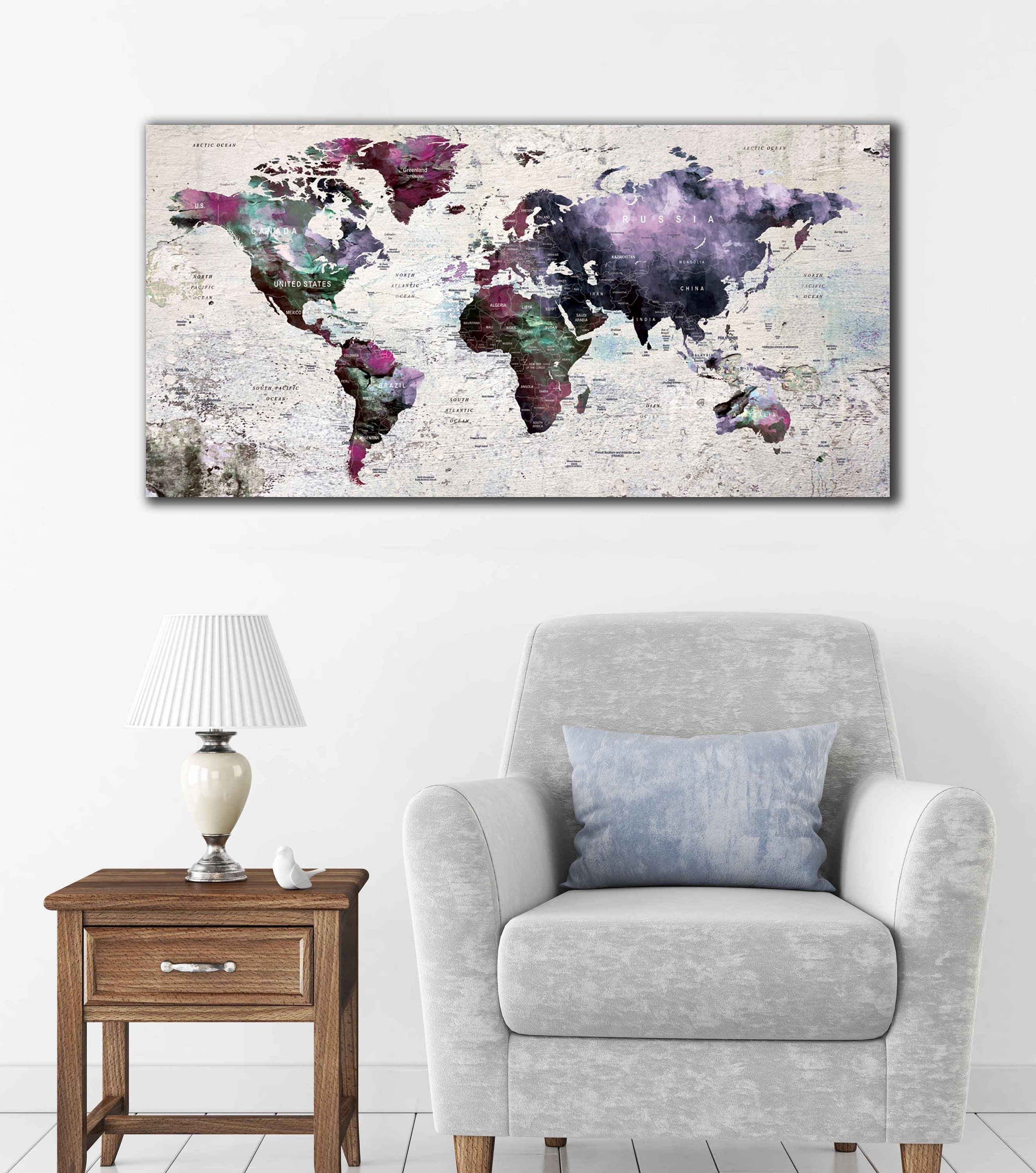 Personalized world map kids room world map nursery room world map personalized world map kids room world map nursery room world map art world map canvas push pin map world map wall art world map print gumiabroncs Images