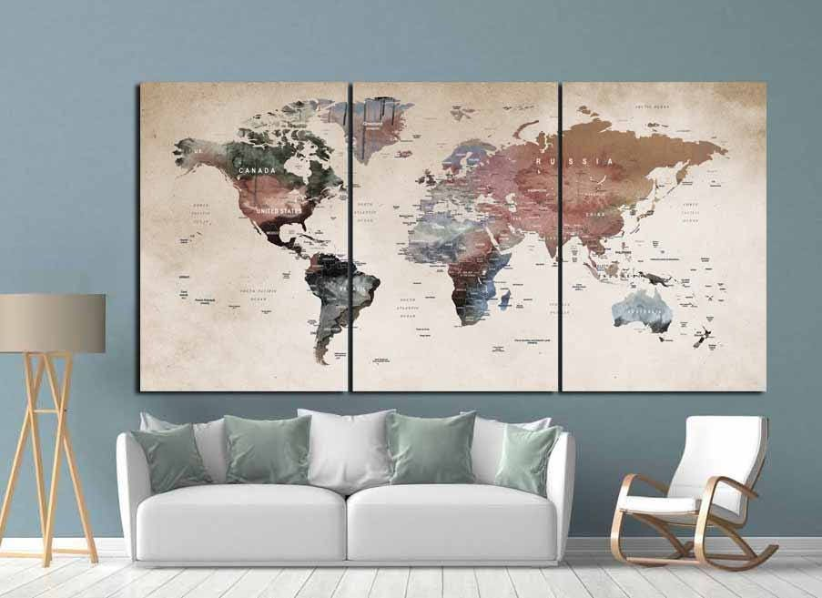World map wall artworld map canvasworld map printlarge world map world map wall artworld map canvasworld map printlarge world mapvintage world mapabstract world maptravel mappush pin map artdecal gumiabroncs