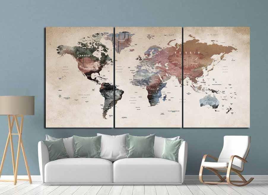 World Map Wall Art,World Map Canvas,World Map Print,Large World Map ...