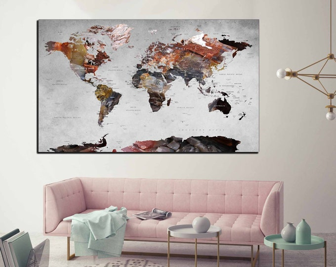 highly detailed world map art, detailed push pin map large canvas print