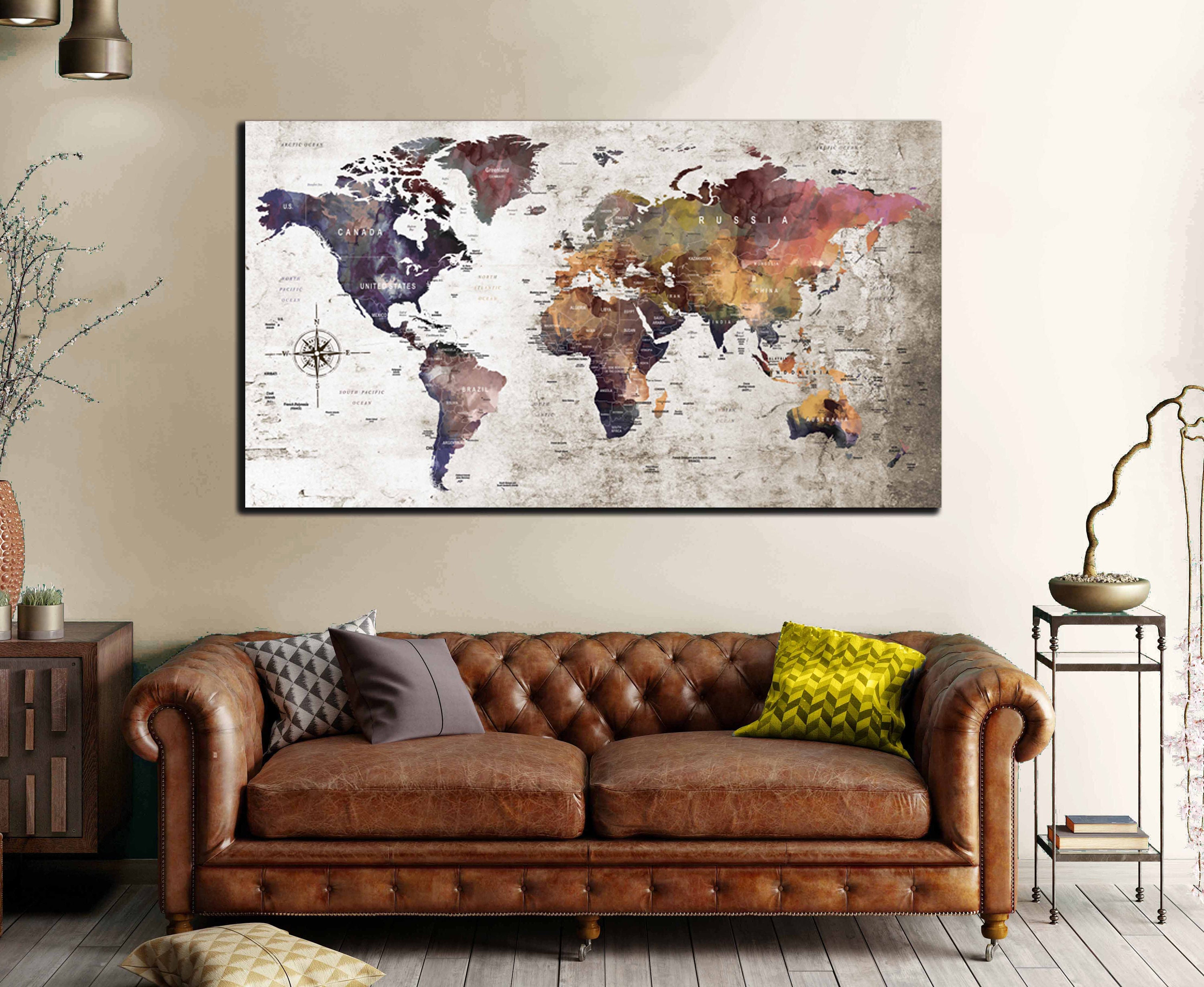 Single Panel Large World Map,World Map Wall Art,Large World ...
