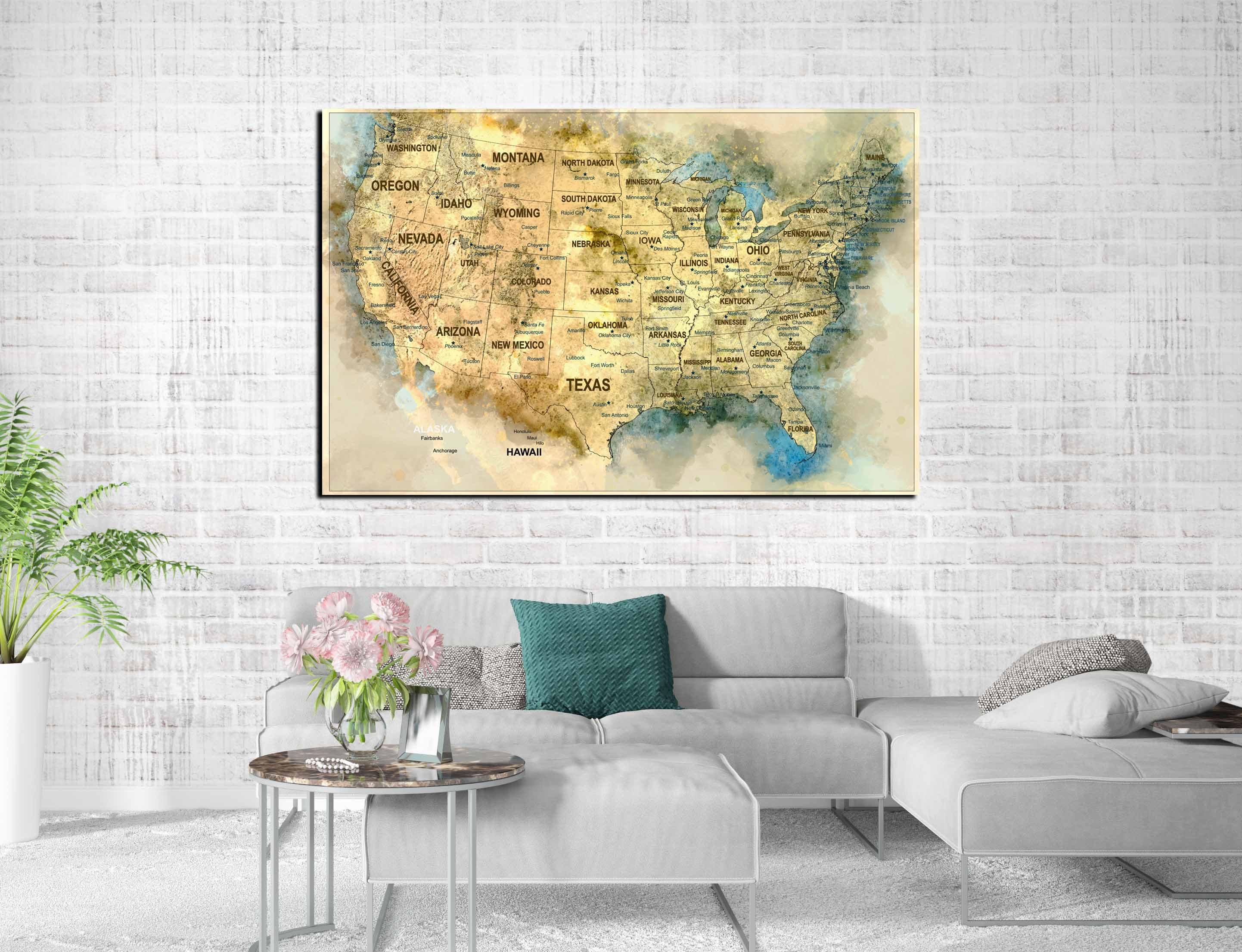 Us Map Art Canvas Print Ready To Hang Us Push Pin Map Watercolor