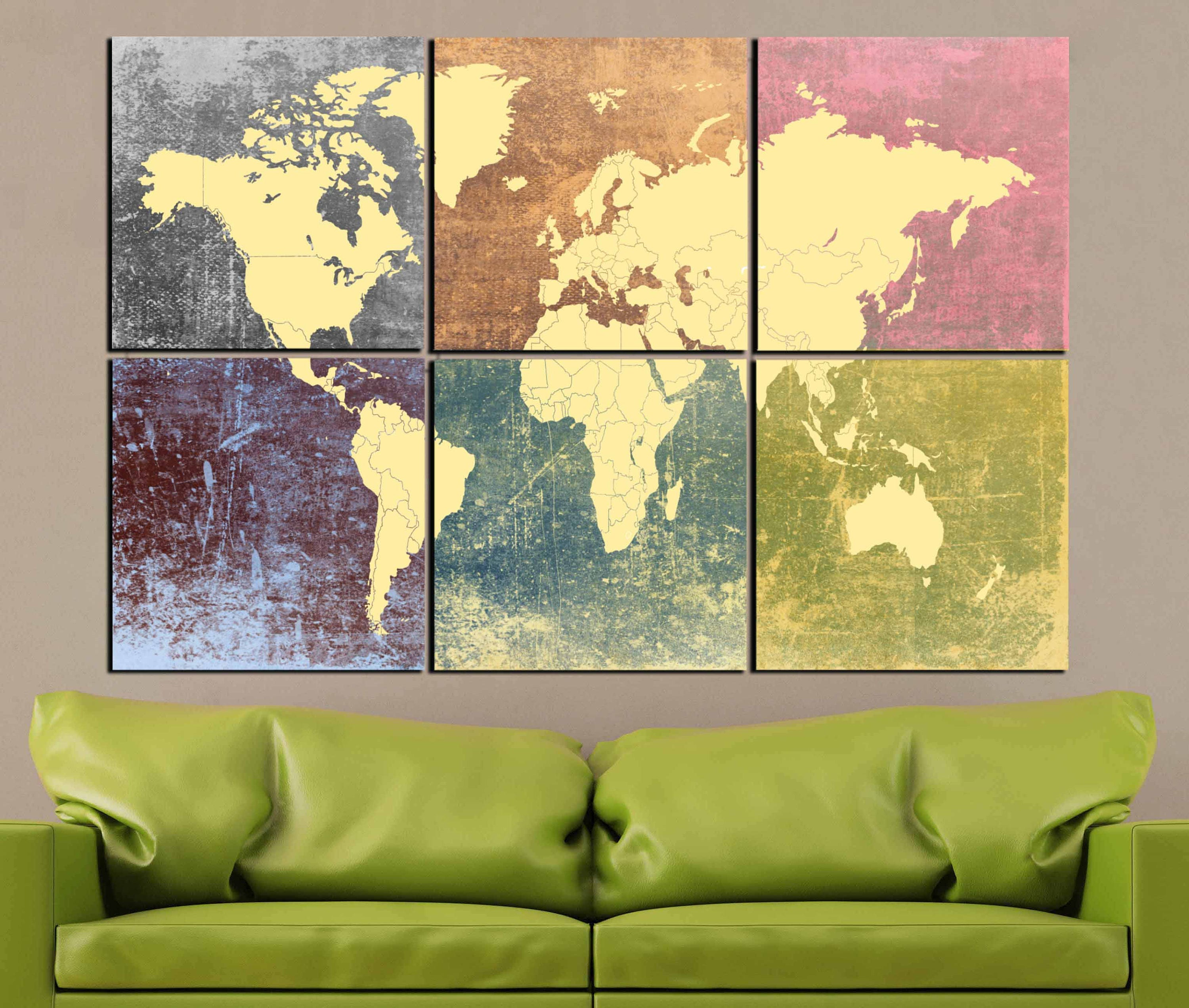 World Map Colorful Decorative 6 Canvas Panels,World Map Large Wall ...