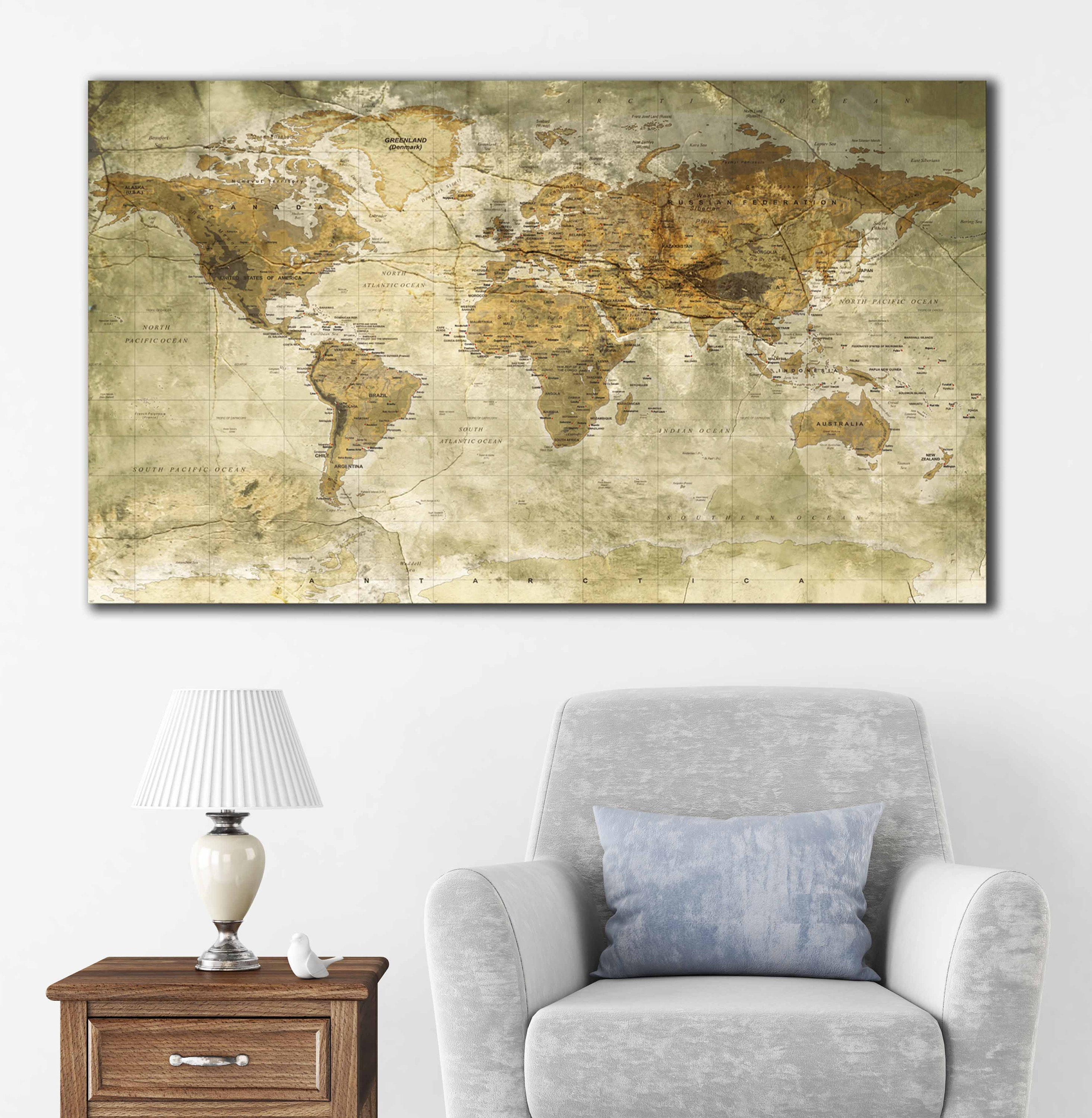 world map vintage world map wall art world map canvas world map art ...