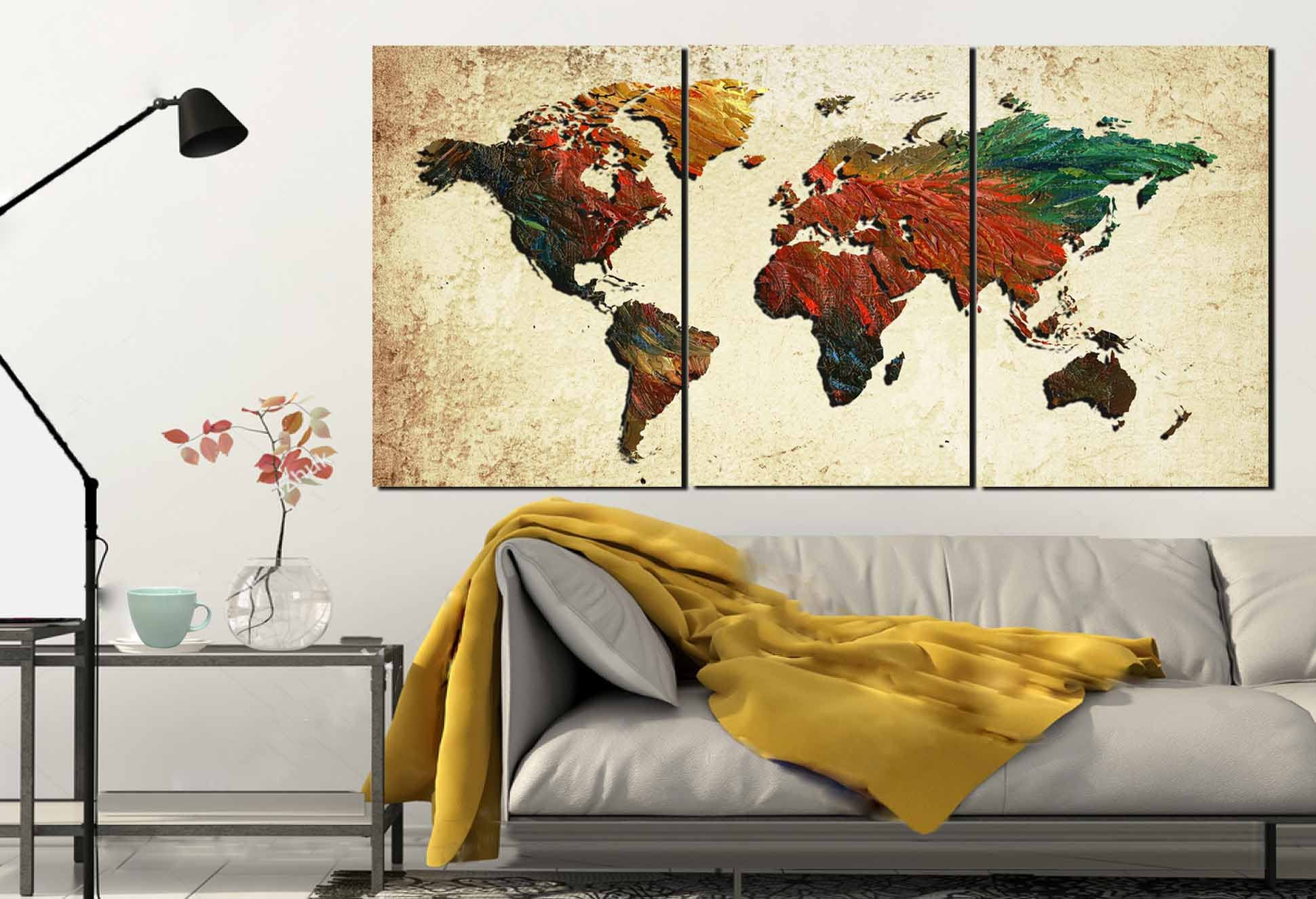 Large world mapworld map world map painting abstract map wall art large world mapworld map world map painting abstract map wall artmap oil paintingworld map canvas printworld map rooster pattern gumiabroncs Images