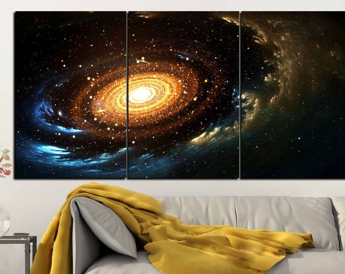 Outer space Spiral Galaxy and Stars Wall Art Canvas Print,Space Art,Spiral in Space Art,Spiral Nebula Stars Art Print,Space Canvas Panels