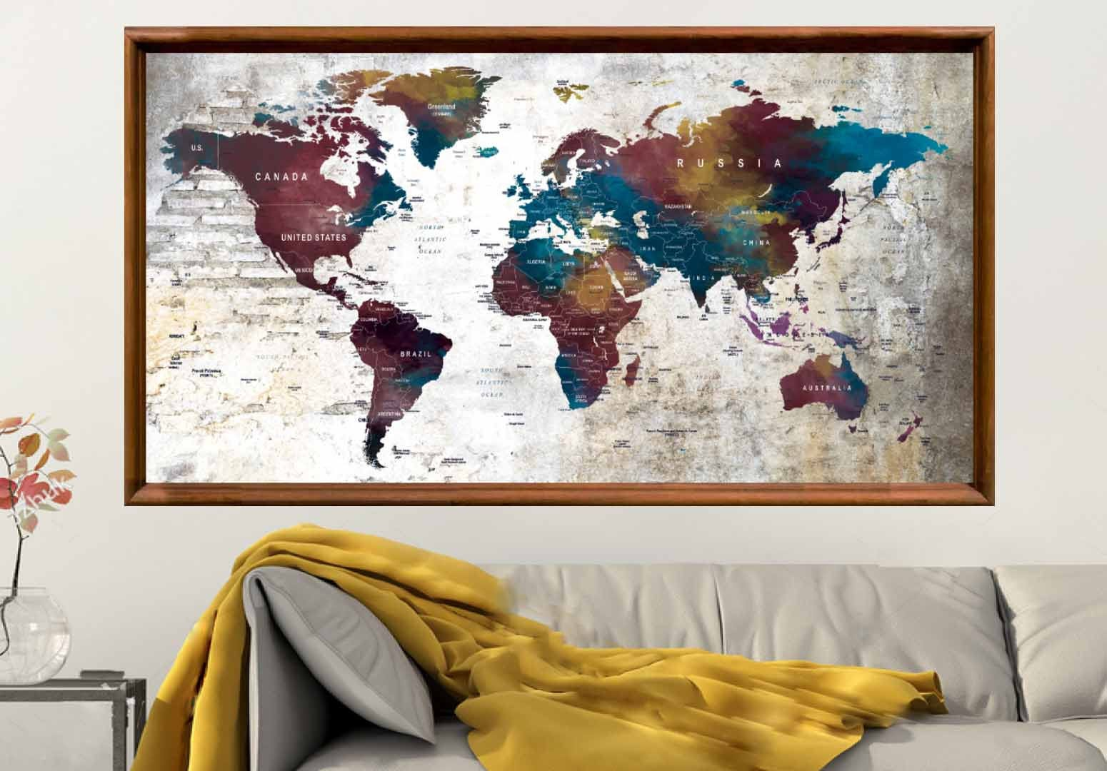Large World Map Poster,World Map Wall Art,World Map Decal ...