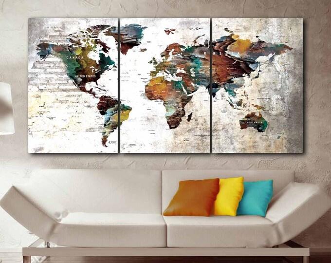 Large World Map Art,World Map,World Map Wall Art,World Map Canvas,World Map Push Pin,Push Pin Map Art Canvas Print,Travel Map Canvas,