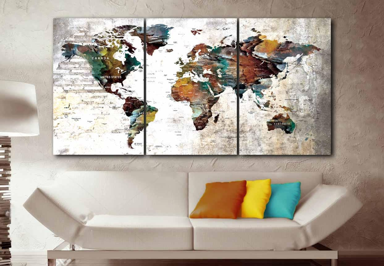 Large world map artworld mapworld map wall artworld map canvas large world map artworld mapworld map wall artworld map canvasworld map push pinpush pin map art canvas printtravel map canvas gumiabroncs Gallery