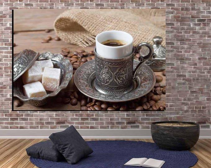 Turkish Coffee Wall Art,Turkish Coffee Art,Turkish Delight and Coffee Art,Coffee Wall Art,Coffee Cup Art,Coffee Cup Art Print,Coffee Beans