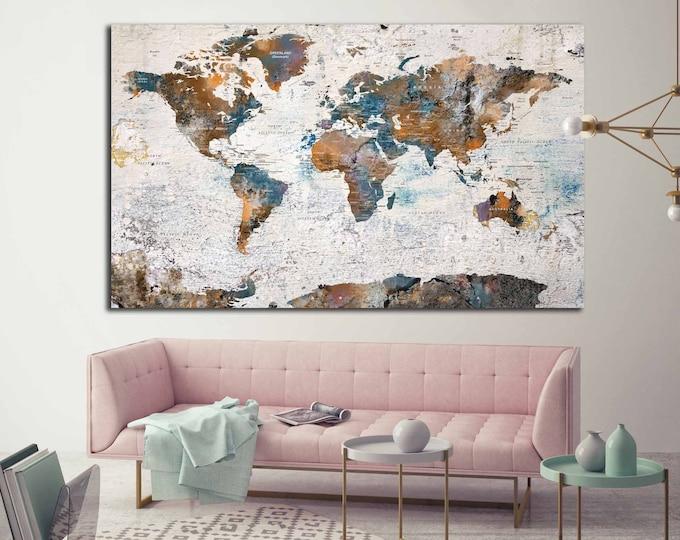 World Map Canvas Single Panel,World Map Wall Art,World Map,Push Pin map Canvas,World Map Print,World Map Large,World Map Abstract Art