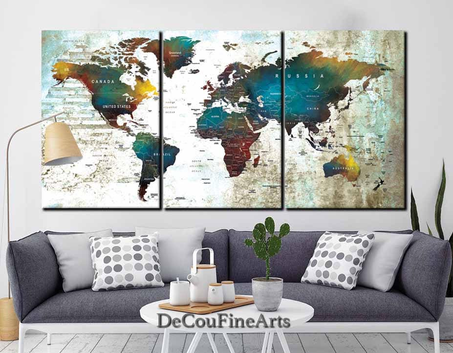 Awesome Large World Map Wall Art Multiple Panels,Push Pin Map,World Map Canvas,World  Map Print,World Map Art,Push Pin Map Canvas,Push Pin Map Canvas